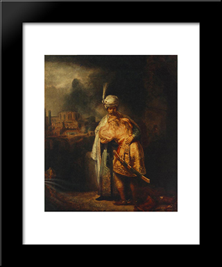 Biblical Scene: Modern Custom Black Framed Art Print by Rembrandt