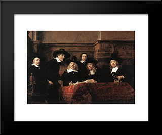 Sampling Officials Of The Drapers' Guild: Modern Custom Black Framed Art Print by Rembrandt