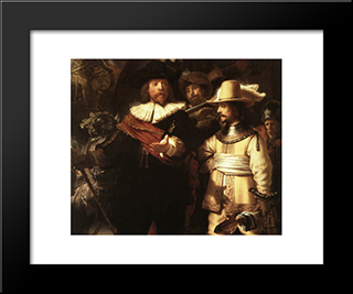 The Nightwatch [Detail: 1]: Modern Custom Black Framed Art Print by Rembrandt