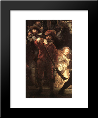 The Nightwatch [Detail: 2]: Modern Custom Black Framed Art Print by Rembrandt