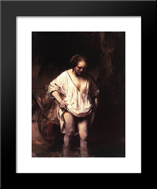 Hendrickje Bathing In A River: Modern Custom Black Framed Art Print by Rembrandt