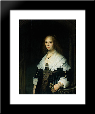 Portrait Of Maria Trip (1619-1683): Modern Custom Black Framed Art Print by Rembrandt