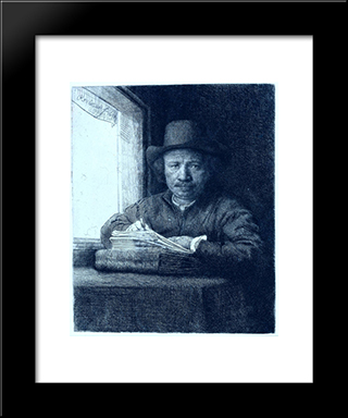 Rembrandt Drawing At A Window: Modern Custom Black Framed Art Print by Rembrandt