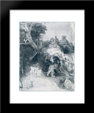 St Jerome Reading In An Italian Landscape: Modern Custom Black Framed Art Print by Rembrandt