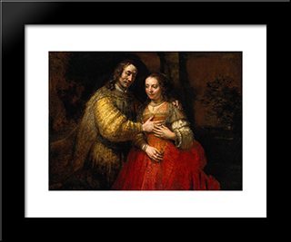 Portrait Of Two Figures From The Old Testament, Known As 'The Jewish Bride': Modern Custom Black Framed Art Print by Rembrandt