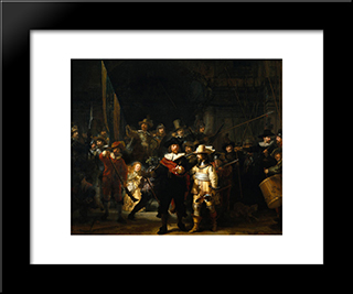 The Company Of Frans Banning Cocq And Willem Van Ruytenburch, Known As The 'Night Watch': Modern Custom Black Framed Art Print by Rembrandt