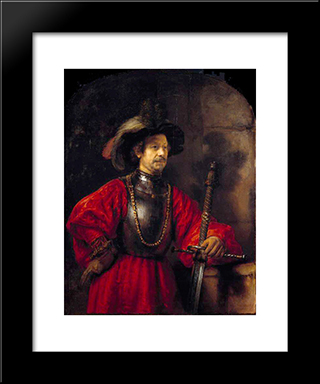 Portrait Of A Man In Military Dress: Modern Custom Black Framed Art Print by Rembrandt
