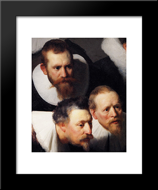 The Anatomy Lecture Of Dr Tulp [Detail #1]: Modern Custom Black Framed Art Print by Rembrandt