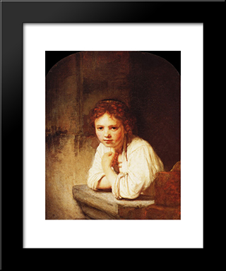 A Girl At A Window: Modern Custom Black Framed Art Print by Rembrandt
