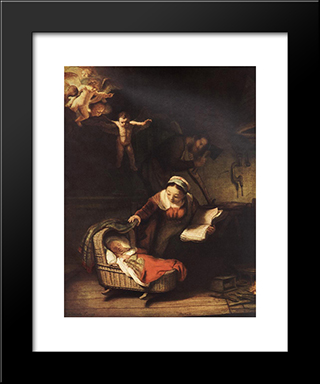 The Holy Family With Angels: Modern Custom Black Framed Art Print by Rembrandt
