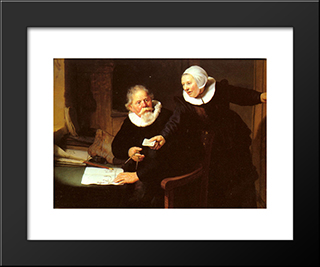 Jan Rijcksen And His Wife, Griet Jans ('The Shipbuilder And His Wife'): Modern Custom Black Framed Art Print by Rembrandt