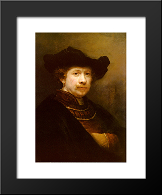 Portrait Of The Artist In A Flat Cap: Modern Custom Black Framed Art Print by Rembrandt
