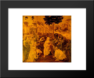 Adoration Of The Magi: Modern Custom Black Framed Art Print by Leonardo Da Vinci