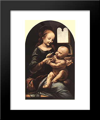 Madonna With Flower: Modern Custom Black Framed Art Print by Leonardo Da Vinci