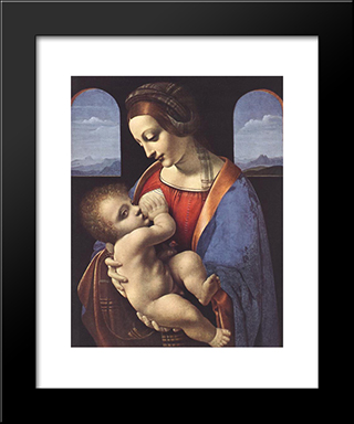 Madonna Litta: Modern Custom Black Framed Art Print by Leonardo Da Vinci