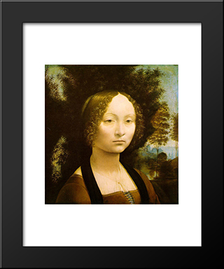 Portrait Of Ginevra Benci: Modern Custom Black Framed Art Print by Leonardo Da Vinci