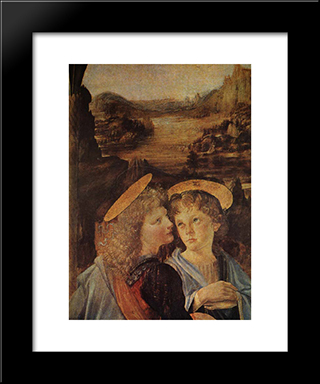 The Baptism Of Christ [Detail]: Modern Custom Black Framed Art Print by Leonardo Da Vinci