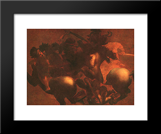 The Battle Of Angihiari: Modern Custom Black Framed Art Print by Leonardo Da Vinci