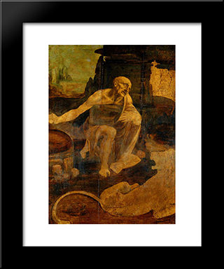 Saint Jerome: Modern Custom Black Framed Art Print by Leonardo Da Vinci