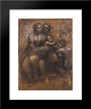 Madonna And Child With St Anne And The Young St John: Modern Custom Black Framed Art Print by Leonardo Da Vinci
