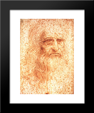 Self Portrait: Modern Custom Black Framed Art Print by Leonardo Da Vinci