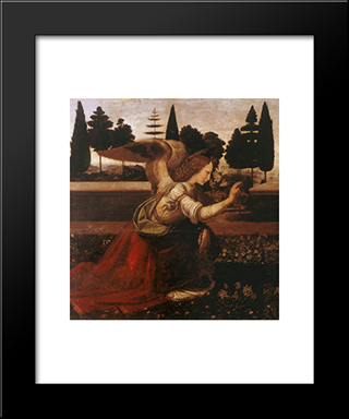 Annunciation [Detail: 1]: Modern Custom Black Framed Art Print by Leonardo Da Vinci