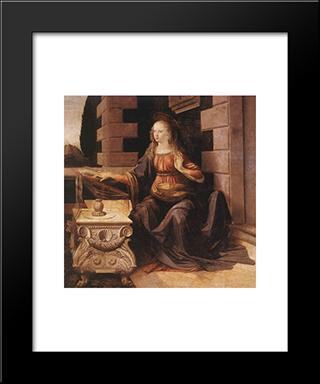 Annunciation [Detail: 2]: Modern Custom Black Framed Art Print by Leonardo Da Vinci