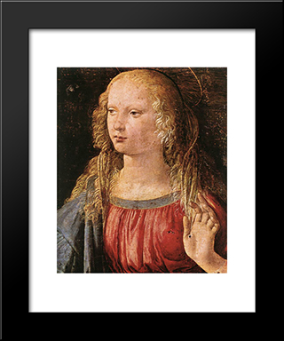 Annunciation [Detail: 3]: Modern Custom Black Framed Art Print by Leonardo Da Vinci