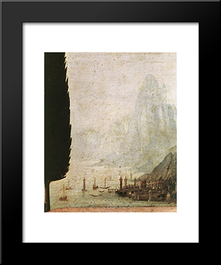 Annunciation [Detail: 4]: Modern Custom Black Framed Art Print by Leonardo Da Vinci
