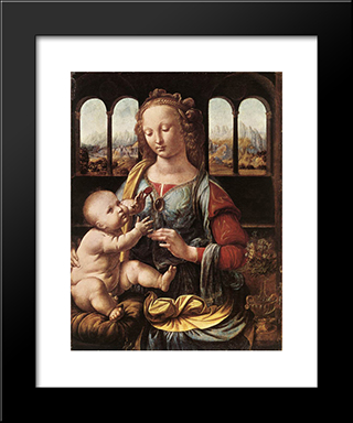 The Madonna Of The Carnation: Modern Custom Black Framed Art Print by Leonardo Da Vinci
