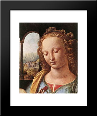 The Madonna Of The Carnation [Detail: 1]: Modern Custom Black Framed Art Print by Leonardo Da Vinci