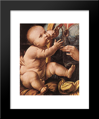 The Madonna Of The Carnation [Detail: 2]: Modern Custom Black Framed Art Print by Leonardo Da Vinci