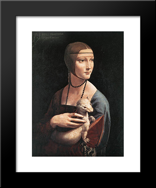 Portrait Of Cecilia Gallerani: Modern Custom Black Framed Art Print by Leonardo Da Vinci