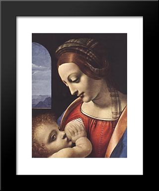 Madonna Litta [Detail: 1]: Modern Custom Black Framed Art Print by Leonardo Da Vinci