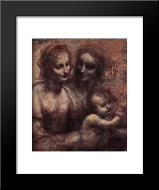 Madonna And Child With St Anne And The Young St John [Detail: 1]: Modern Custom Black Framed Art Print by Leonardo Da Vinci