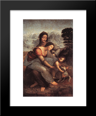 The Virgin And Child With St Anne: Modern Custom Black Framed Art Print by Leonardo Da Vinci