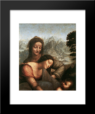 The Virgin And Child With St Anne [Detail: 1]: Modern Custom Black Framed Art Print by Leonardo Da Vinci