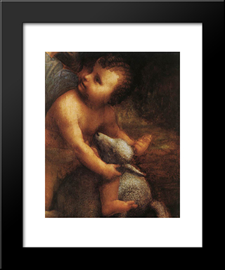 The Virgin And Child With St Anne [Detail: 2]: Modern Custom Black Framed Art Print by Leonardo Da Vinci