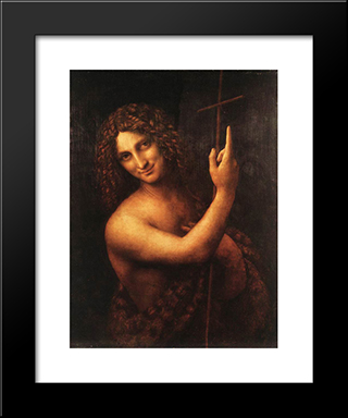 St John The Baptist: Modern Custom Black Framed Art Print by Leonardo Da Vinci