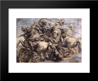 The Battle Of Anghiari: Modern Custom Black Framed Art Print by Leonardo Da Vinci