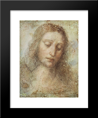 Head Of Christ: Modern Custom Black Framed Art Print by Leonardo Da Vinci