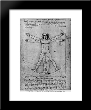 Vitruvian Man, Study Of Proportions, From Vitruvius'S De Architectura: Modern Custom Black Framed Art Print by Leonardo Da Vinci