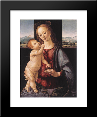 Madonna And Child With A Pomegranate: Modern Custom Black Framed Art Print by Leonardo Da Vinci
