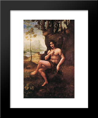 St John In The Wilderness: Modern Custom Black Framed Art Print by Leonardo Da Vinci