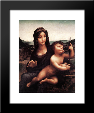 Madonna With The Yarnwinder: Modern Custom Black Framed Art Print by Leonardo Da Vinci