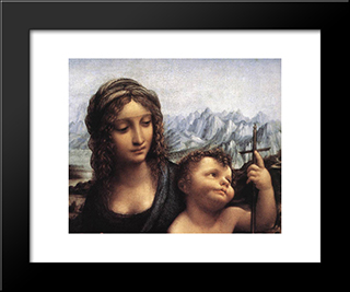 Madonna With The Yarnwinder [Detail: 1]: Modern Custom Black Framed Art Print by Leonardo Da Vinci