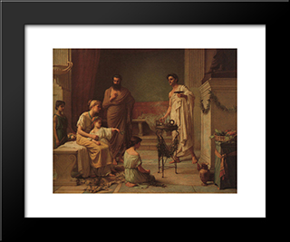 A Sick Child Brought Into The Temple Of Aesculapius: Modern Custom Black Framed Art Print by John William Waterhouse