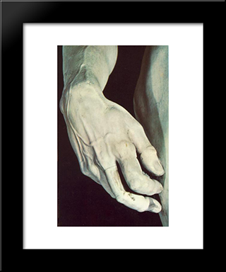 David [Detail]: Modern Custom Black Framed Art Print by Michelangelo