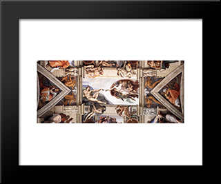 Ceiling Of The Sistine Chapel [Detail]: Modern Custom Black Framed Art Print by Michelangelo