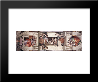 Ceiling Of The Sistine Chapel - Bay 1: Modern Custom Black Framed Art Print by Michelangelo